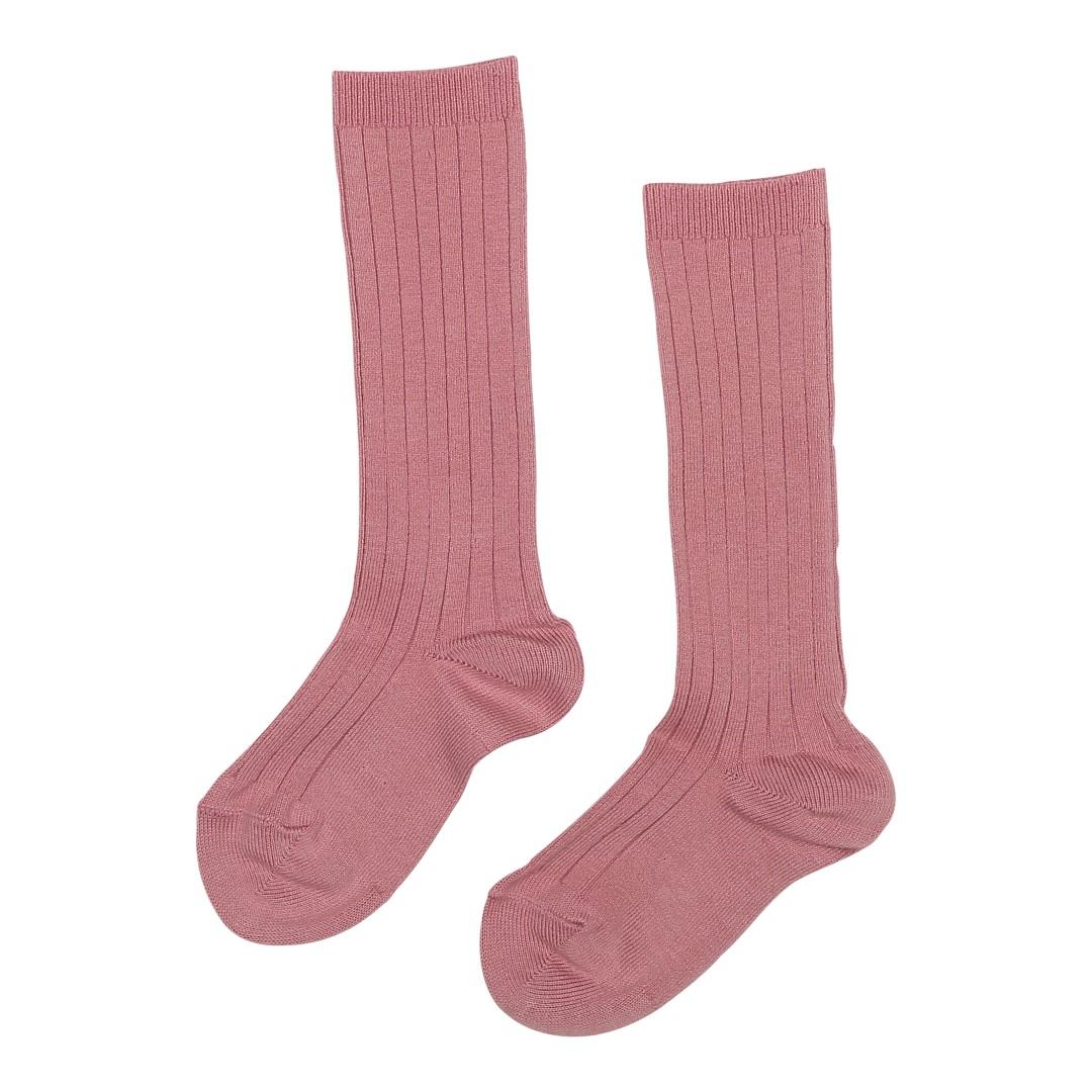 Knæstrømper med rib i lyserød farve