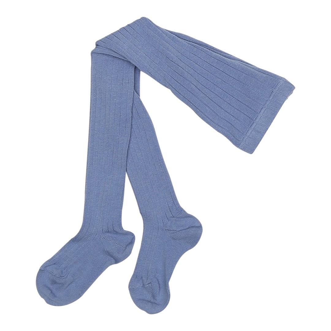 Strømpebukser med rib i blå farve