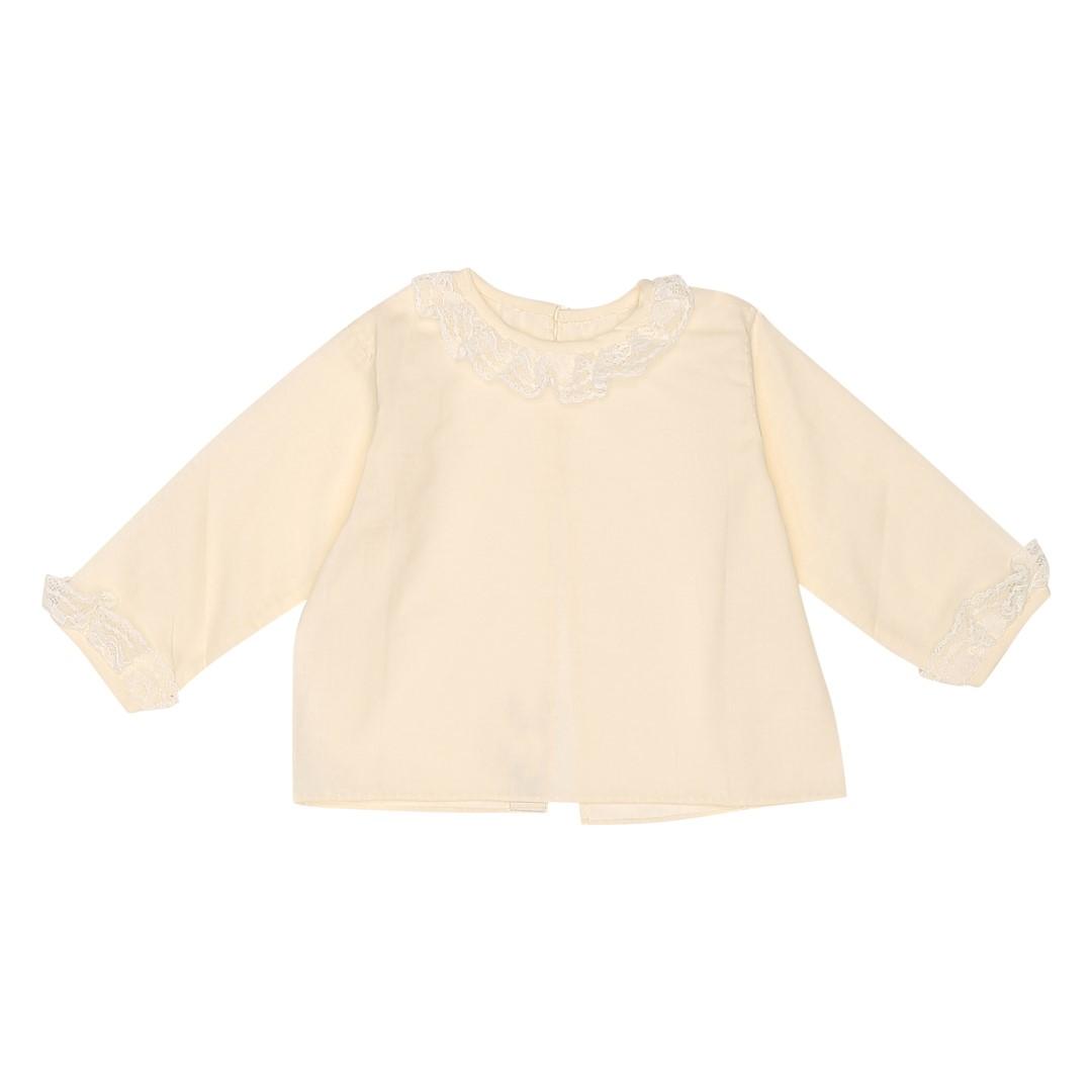 Valbuena dåbsskjorte med krave og manchet i håndlavede kniplinger