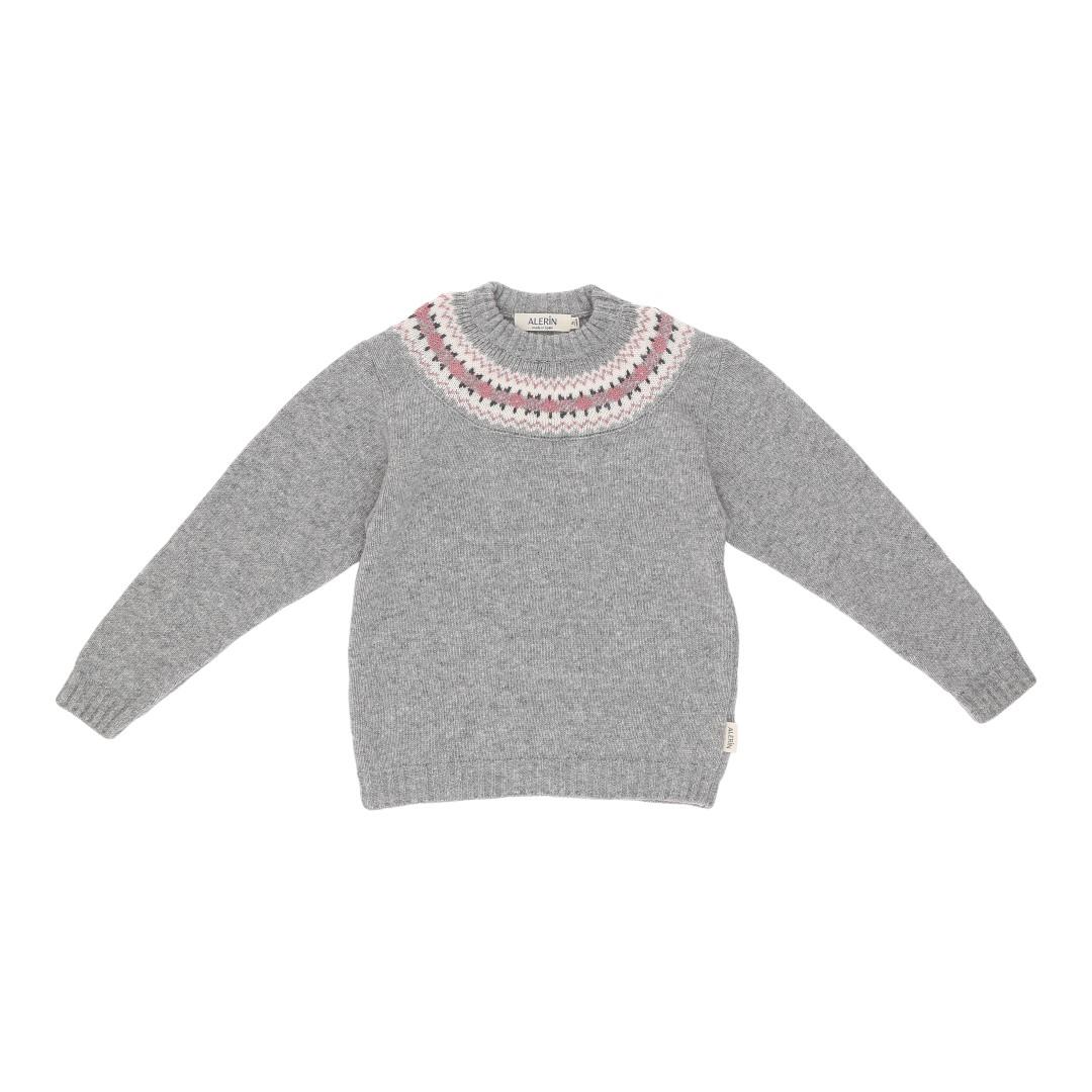 Oslo uldsweater i grå farve med smukt nordisk mønster