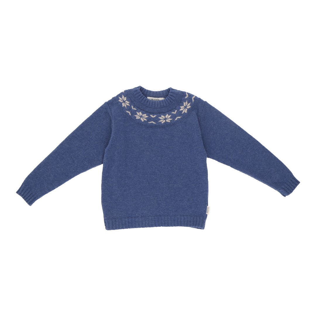 Oslo wool sweater blue wool with Nordic pattern