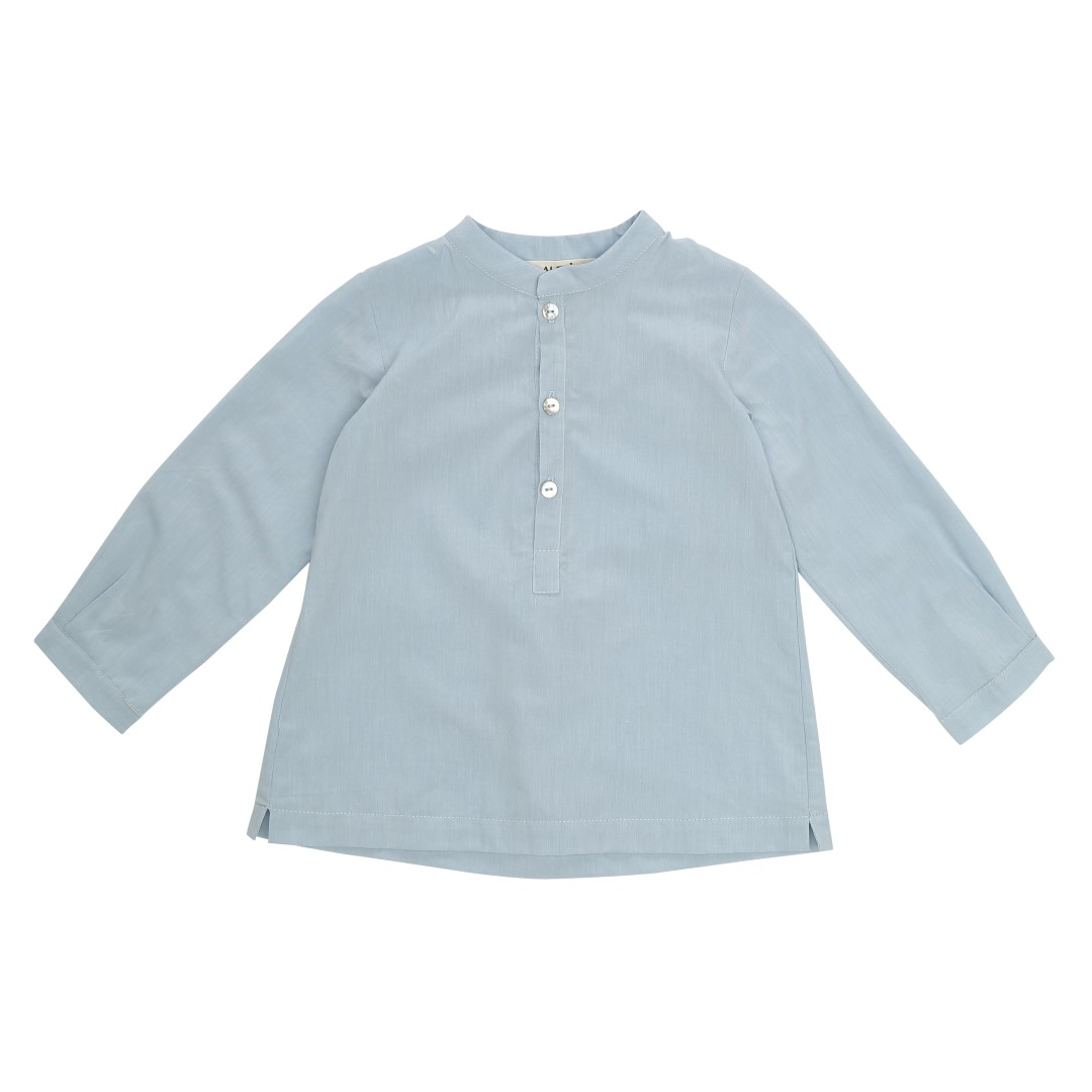 Mao shirt with mandarin collar in blue cotton