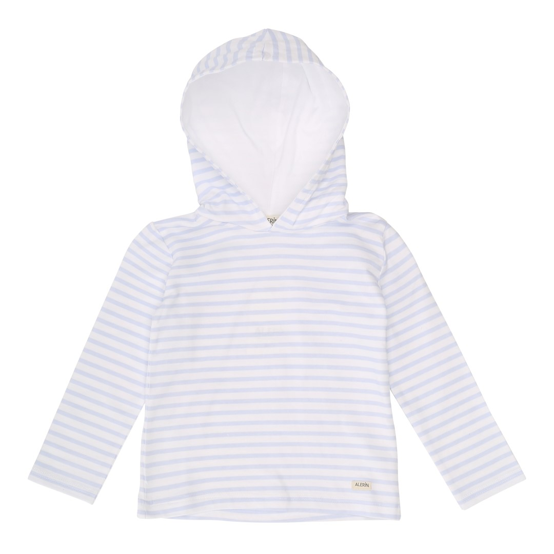 Sweatshirt with hood and long sleeves in thin blue-striped cotton