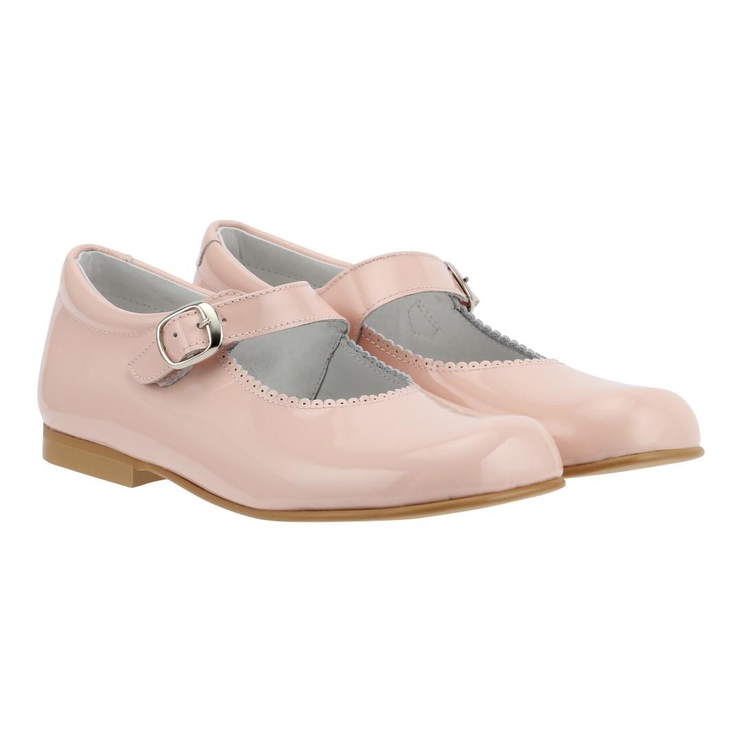Mary Jane laksko i rosa farvet læder til piger