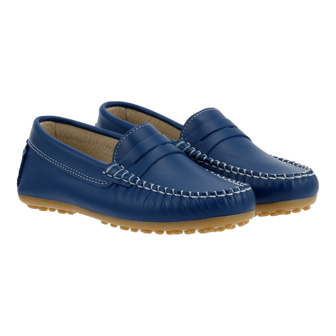 Boat shoes in blue nappa leather