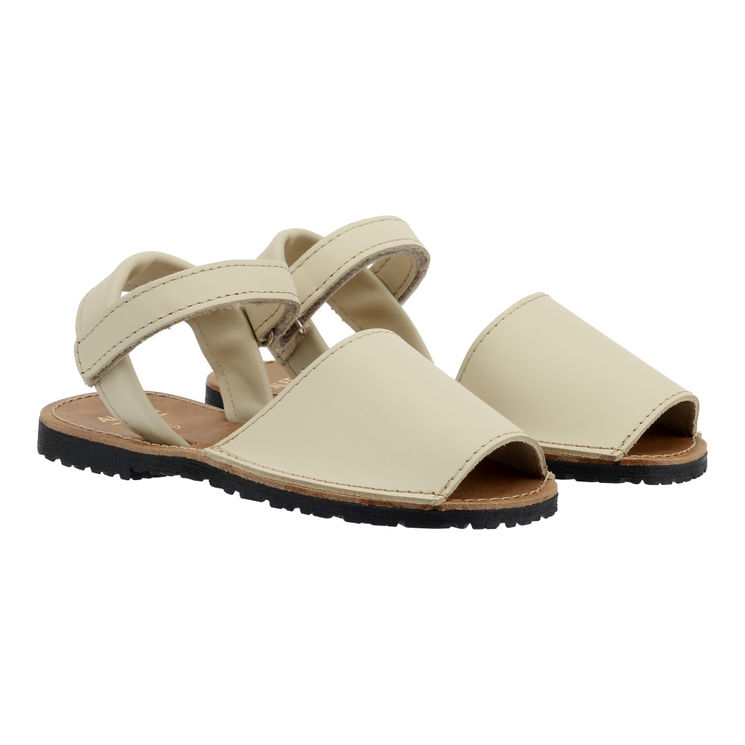 Avarcas in beige leather with velcro strap