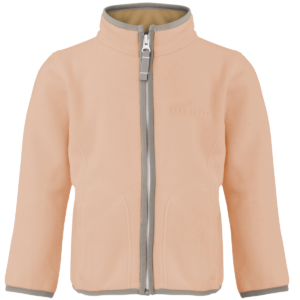 Girls doubleface fleece jacket in mahogany rose/mocca color