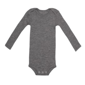 Long sleeve body in melange grey merino wool