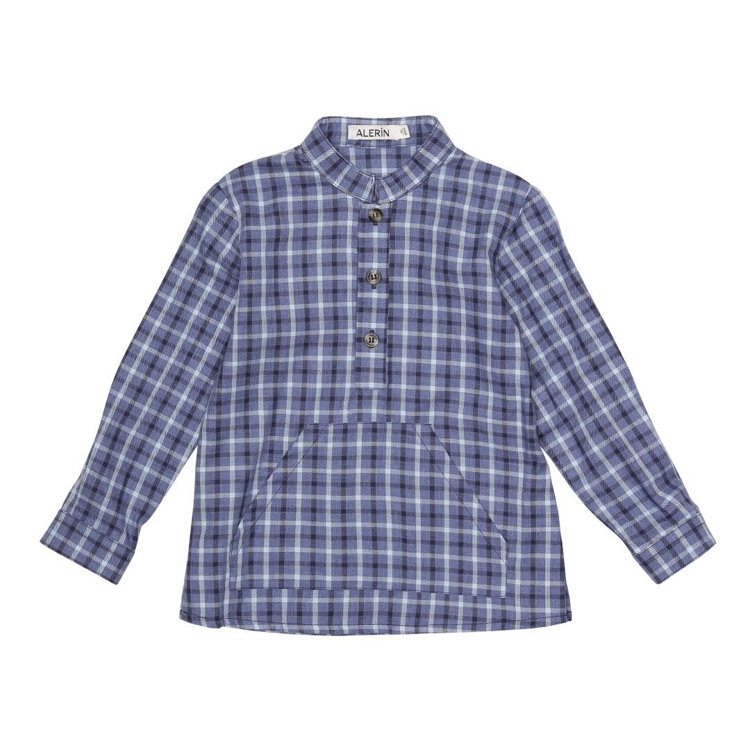 Max skjorte i blåternet økologisk bomuld