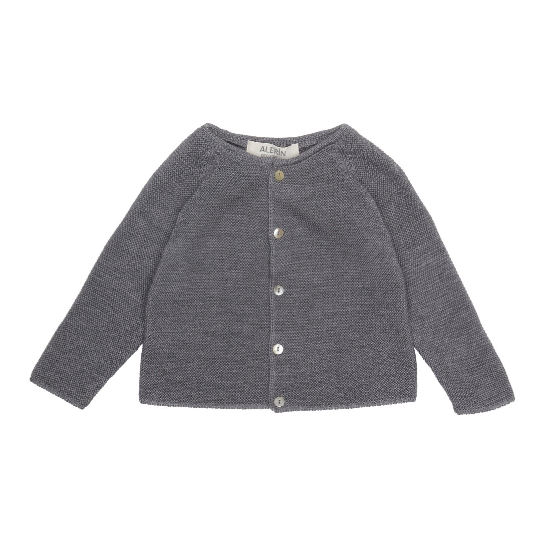 Baby merino wool cardigan grey
