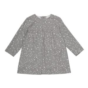 Ingeborg pigekjole med lange ærmer og lommer i stengrå kvalitetsbomuld med stjernemønster