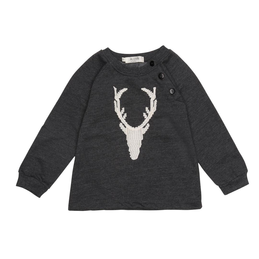 Askim bomuldssweater i stengrå farve med broderet hjort i hvid